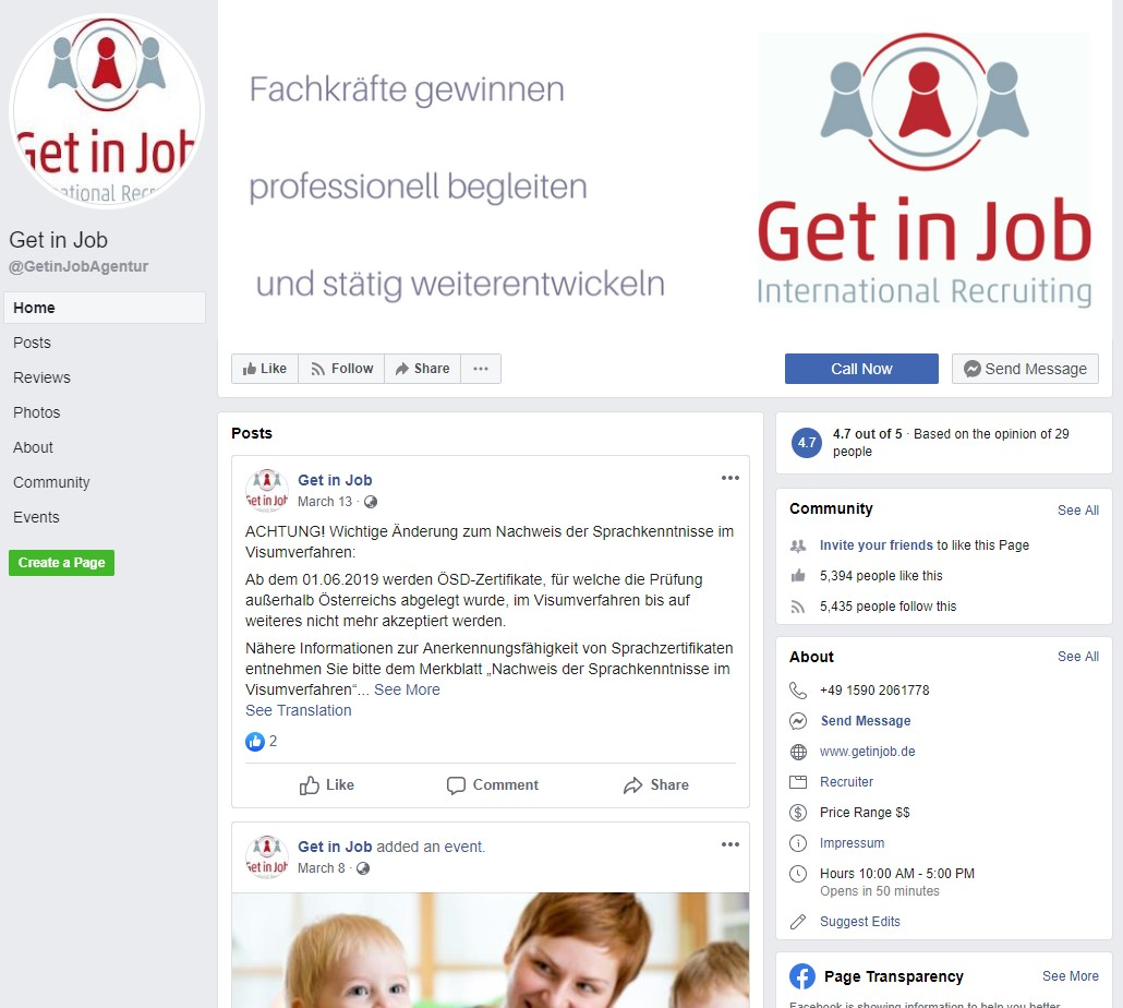 Top 50 Facebook Pages For Job Search In The Germany Jobs68 Com