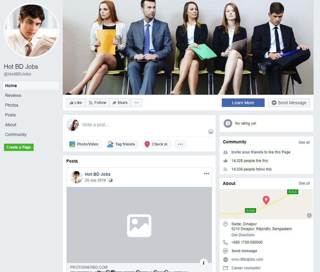 Top 50 Facebook pages for job search in the bangladesh