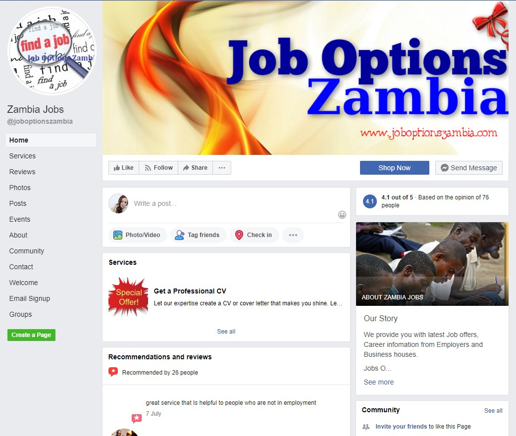 Top 13 Facebook pages for job search in the zambia | jobs68 com