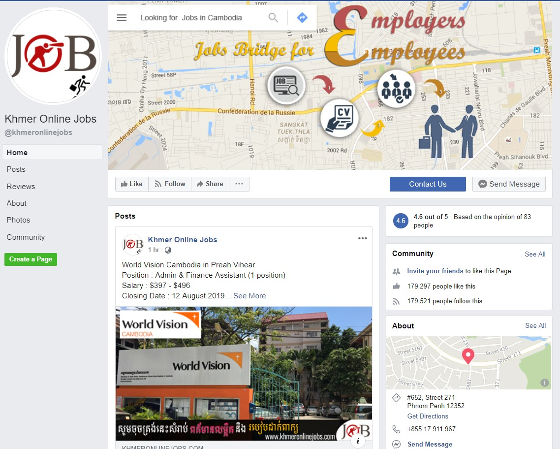 Top 50 Facebook pages for job search in the cambodia